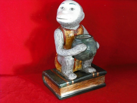 Vintage Pottery Monkey Figurine Hand Painted