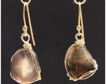 Wirewrapped Cloud Agate earrings