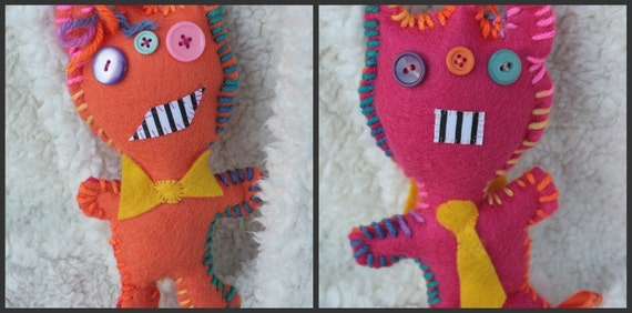 Mullet Monster Double-sided Hand Stitched Felt Stuffed Animal