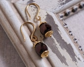 SALE - 8 Dollars -Classic Gold Tone & Brown Pearl Wire Wrapped Dangle Earrings