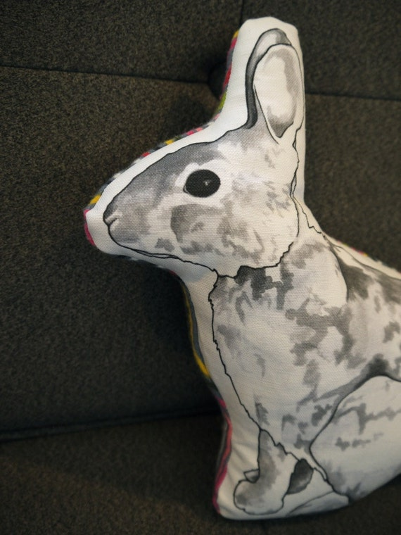 Petunia the Rabbit Pillow with Stripes