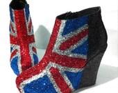 Glitter Union Jack High Heel Wedges