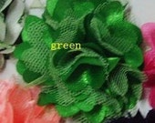 1 lot of 3 EMERALD 2 inch Satin mesh flowers no hair clip wedding bridal bridesmaid brooch flowers headbands