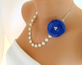 5 Set of bridesmaids gift necklace navy blue organza necklace decorated ivory pearl wedding jewelry bridesmaid necklace bridal jewelry