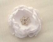 white satin large wedding hair flower with swarovski rhinestone wedding accessory bridal hair accessory bridesmaids gift