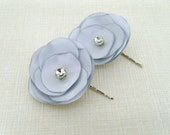 Bridal gray satin 2 hair flowers with art deco rhinestone bridal hair accessory wedding accessories  bridesmaids gift