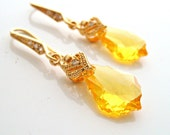 Swarovski baroque yellow earrings with 16k gold plated 925 sterling silver hook earwires wedding jewelry birthday gifts