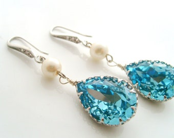 Swarovski crystal 18x13 teardrop dangle earrings cz detail hook earwires and Swarovski pearl wedding jewelry bridesmaids gifts