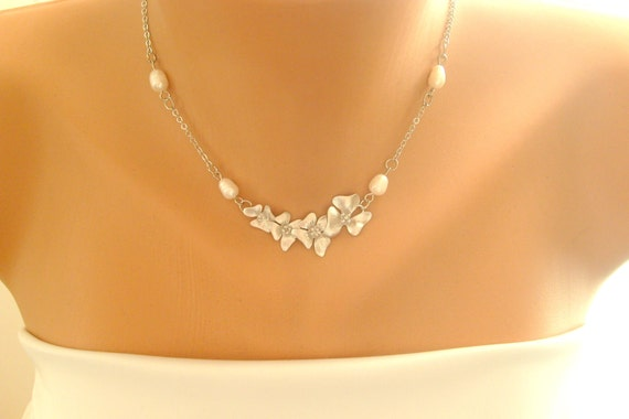 Bridal necklace silver cherry blossom with naturel sea pearls wedding jewelry  bridal necklace bridesmaids gift
