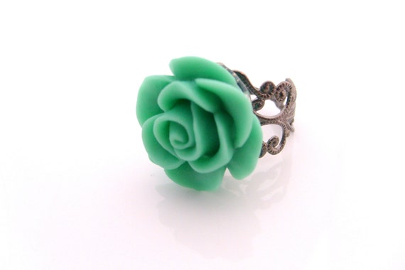 mint green rose cabochon adjustable vintage style ring wedding jewelry bridal jewelry bridesmaids gift
