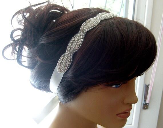 Vintage style art deco crystal rhinestone beaded bridal headband designed ivory double face ribbon bridal hair accessory bridesmaid gifts