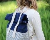 Organic Canvas Backpack - Navy Blue - Stripes - Organic Cotton - Roll Top