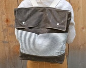 Waxed Canvas Backpack - Dark Tan - Stripes - Weather Resistent