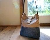Hemp / Organic Denim Purse - Leather Strap - Shoulder Bag - Khaki and Blue