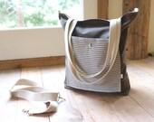 Waxed Canvas Lightweight Tote - Dark Tan / Stripes - Front Pocket - Detachable Shoulder Strap