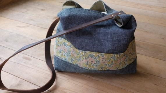 Denim and Floral Purse - Organic Fabrics - Leather Strap