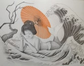 Original Japanese Mermaid Drawing