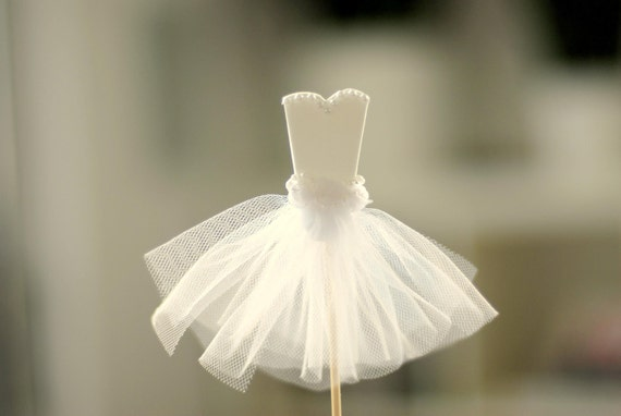 Bride Cupcake Toppers for Wedding or Bridal Shower  - Strapless Gown - Set of 12
