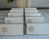 Gold Embossed Snowflake Place/Escort Cards