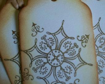 Vintage Inspired Gold Embossed Snowflake tags