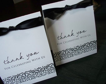 Classic Black & White Thank You card - set of 4