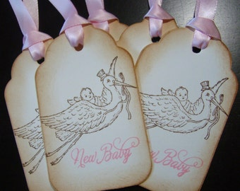 Victorian Inspired New Baby (Pink) Gift/Wish Tree Tags