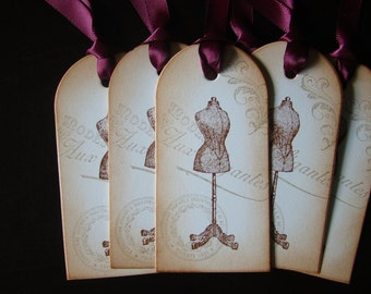 French Inspired/Vintage Appearance Dress Form Gift/Wish Tree Tags
