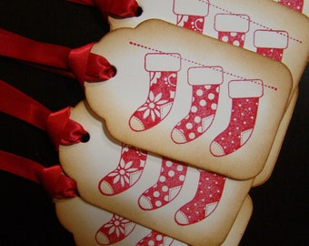 Red Christmas Stockings Gift Tags