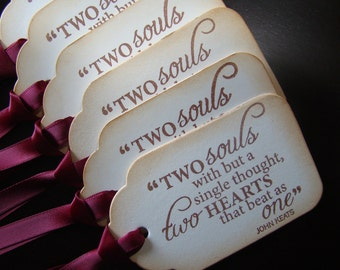 Romantic verse by famous poet, John Keats - Wedding Gift/Wish Tree Tags