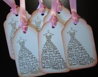 Gold Embossed Worded Wedding Dress Gift/Wish Tree Tags - set of 25