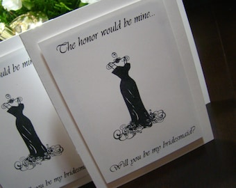 Will You Be My Bridesmaid - Set of 4 Elegant Black & White request cards