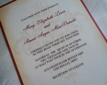 Damask Design Wedding Invitation Sample - Vintage Inspired