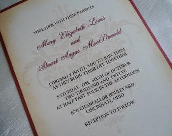 Damask Design Wedding Invitation Sample - Vintage Inspired