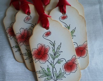 Eye catching Vintage Inspired Poppy Gift Tags
