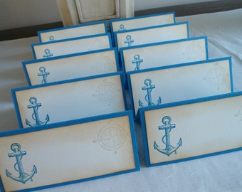 Nautical theme - Anchor - tent style place/escort cards