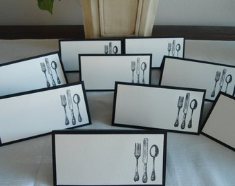 Elegant Black and Cream Utensils Place/Escort Cards