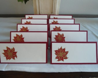 Gold Embossed Poinsettia Place/Escort Cards
