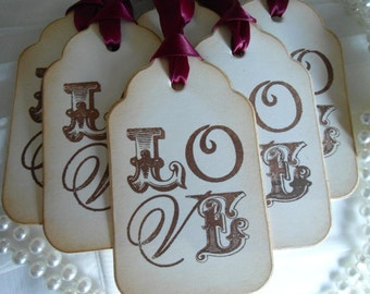 Set of 25 - Vintage Inspired Stacked LOVE Wedding Gift Tag or Wedding Wish Tree Tag