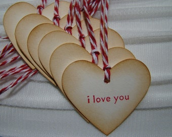 "Vintage Inspired Heart Shaped ""i love you"" tags"