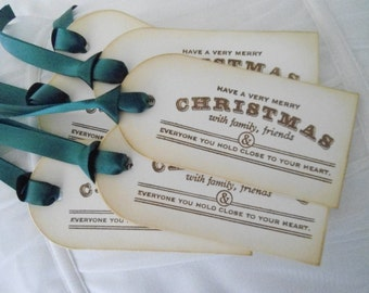 Vintage Inspired Christmas Gift Tags - set of six (6)
