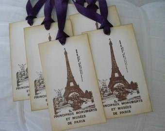 Vintage Inspired Eiffel Tower Gift/Wish Tree Tags - set of six (6)