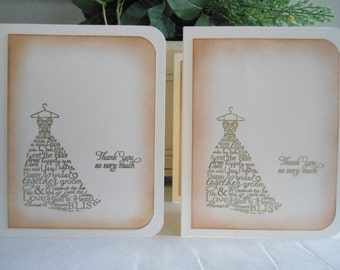 """Gold Embossed """"Worded"""" Weddiing Dress Thank You Cards - set of four (4)"""
