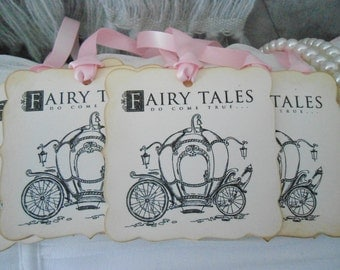 Fairy Tales Do Come True - Vintage Inspired Carriage Gift/Wish Tree Tags - set of 25