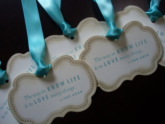"""Elegant """"The Way to Love Life..."""" Gift/Wish Tags"""