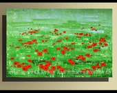 """Red Flowers -With a Certificate of Authenticity - Abstract Modern Wall Art Original Palette Knife Painting 46""""x30""""(115x75cm) By Luba Lubin"""