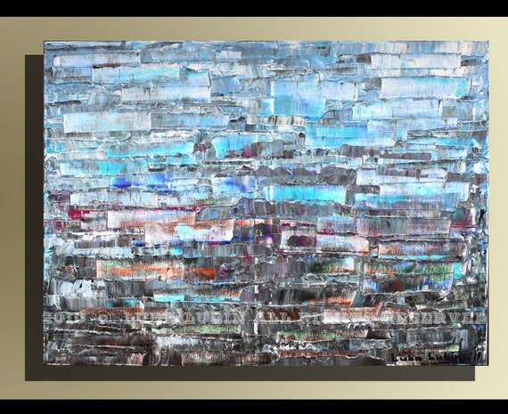 """Blue Abstraction - 51 With a Certificate of Authenticity - Abstract Modern Art Original Painting 32"""" x 24"""" (80 x 60cm)  By Luba Lubin"""
