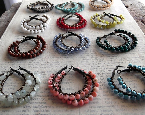 Wholesale Jewelry, Wholesale Earrings BOHO Wire Wrapped Gemstone Hoops  12 pairs