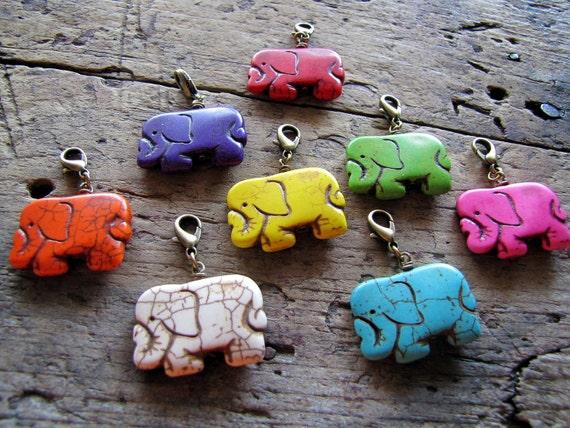 Elephant Charms, Elephant Pendants, Wholesale,  Set of 8