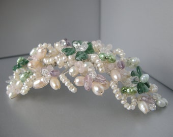 Four leaf clover gemstone hair comb, Pearl crystal and gemsone bridal hair comb tiara