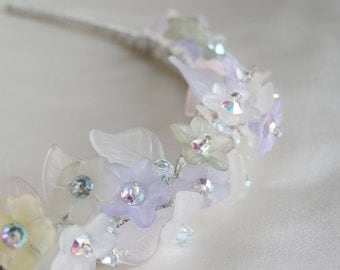 Pastel rainbow colors highlight flowery tiara, Bridal crystal tiara head band, Swarovski crystal bridal tiara, Iridescent bridal tiara